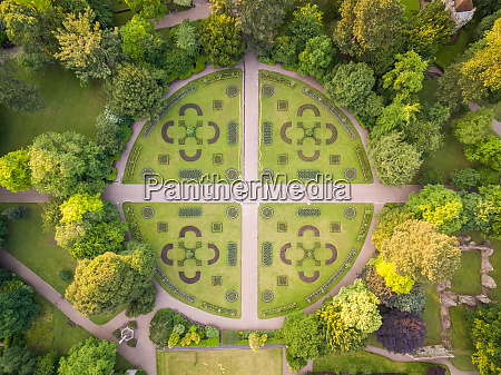 aerial view above abbey gardens in