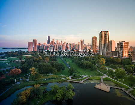 aerial view of lincoln park with