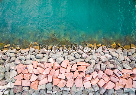 aerial view of artificial causeway on