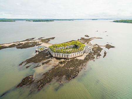 aerial view of abandoned military fort