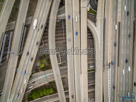 aerial view of multi lane road
