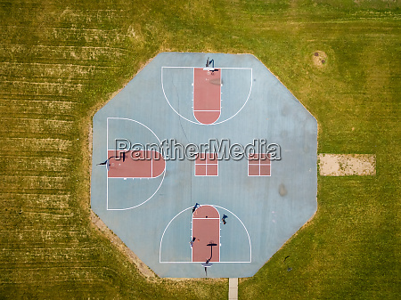 aerial view of public basketball at