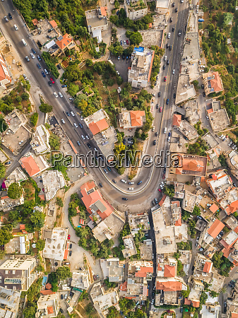 aerial view of a curved road