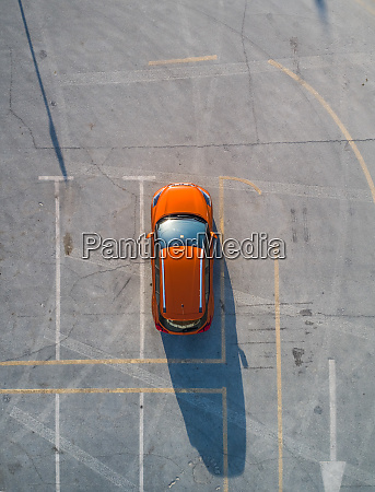 aerial view of a car parked