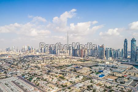 panoramic aerial view of skyscrapers of