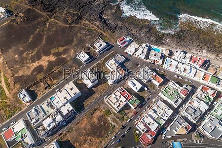 aerial view of a coastal village