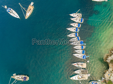 aerial view of boats anchored in