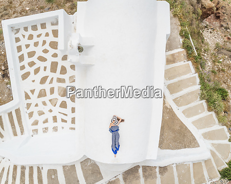 aerial view woman lying on the