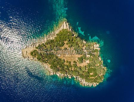 aerial view of isolated nikolaos island