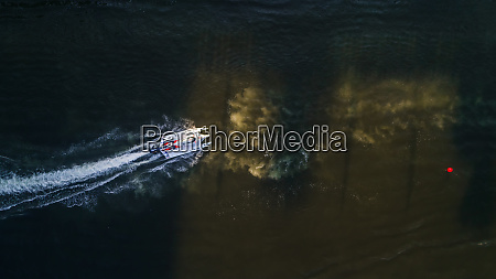 aerial view of a speedboat during