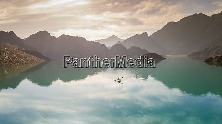 aerial view of a kayaker on