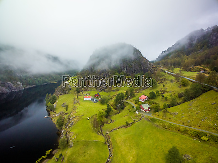 aerial view of erfjord isolated village