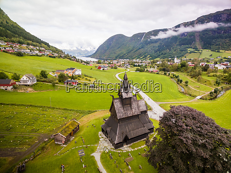 aerial view of hopperstad stave church