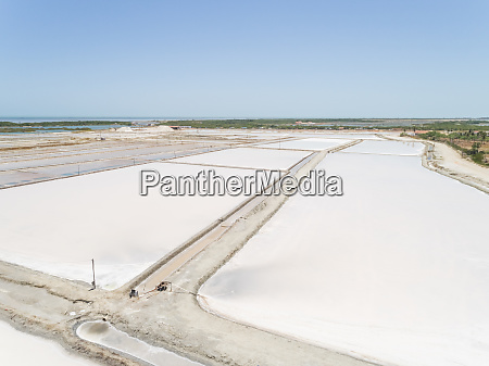 aerial view of white salines industry