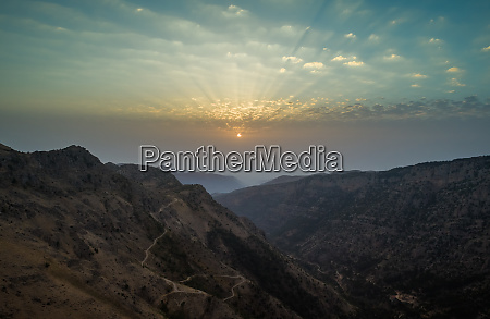 aerial view of sunset in the