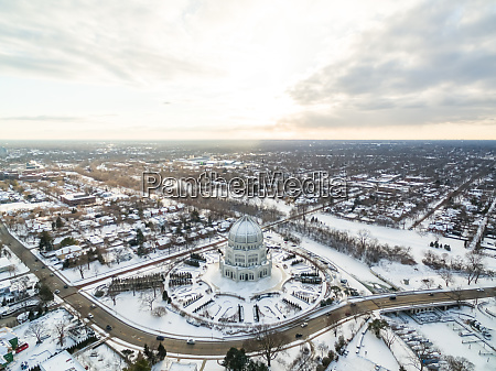 aerial view of bahai house of