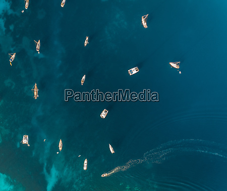 aerial view of group of boats