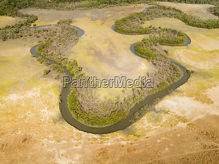 aerial view of a serpentine stream