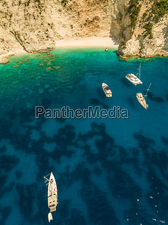 aerial view group of boats anchored