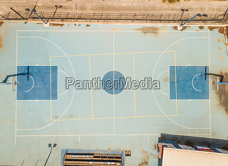 aerial view of basketball court in