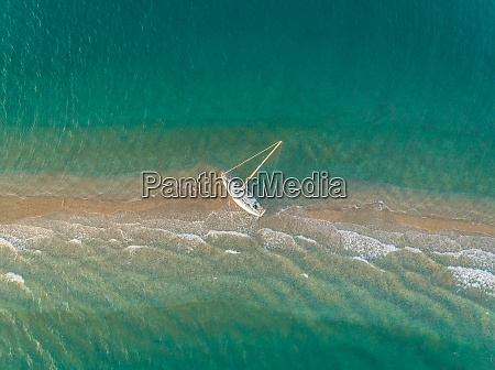 aerial view of a small sailboat