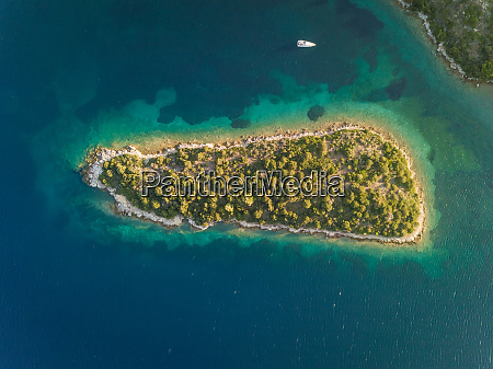 aerial view of isolated trizonia island