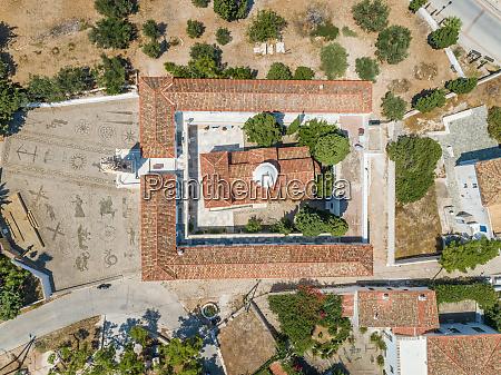 aerial view of agios nikolaos church