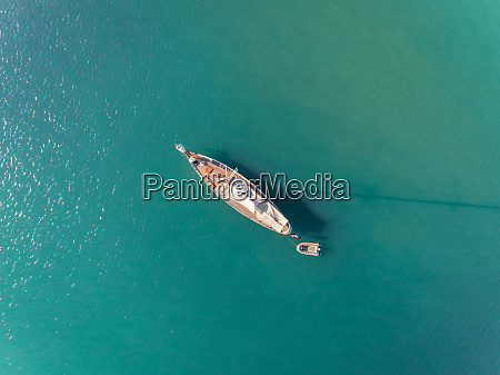 aerial view of luxury sailboat in