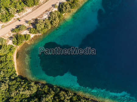 aerial view of shore on meganisi