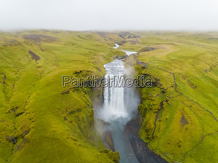 aerial view of skogafoss waterfall on