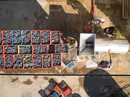 aerial view of mans loading tractor