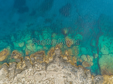 aerial view of rock formation on
