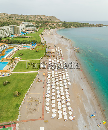 aerial view of beach resort lined