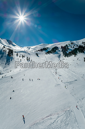 aerial view of people skiing at
