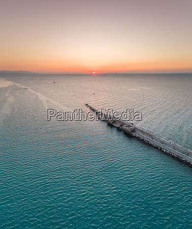 aerial view of sunset at harbor