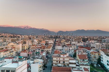 aerial view of sunset at patras