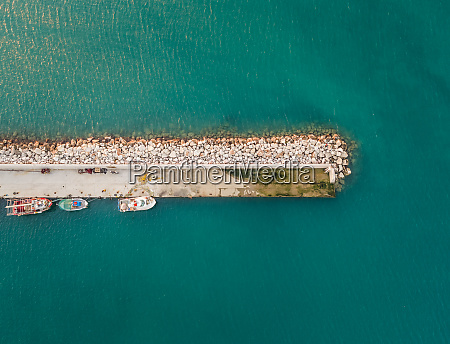 aerial view of boats tied to