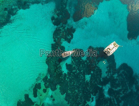 aerial view of two small boats