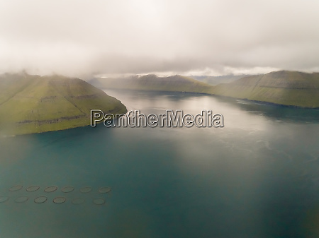 aerial view of aquaculture fish farm