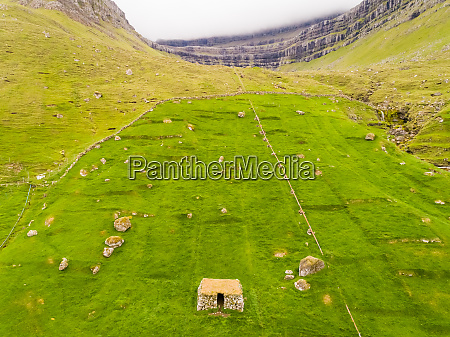 aerial view of ancient ruins on