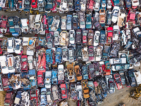 aerial view above of small junkyard