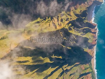 aerial view of tall mountain formation
