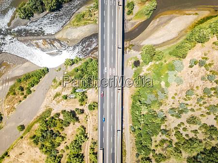 aerial view of puente llacolen bridge
