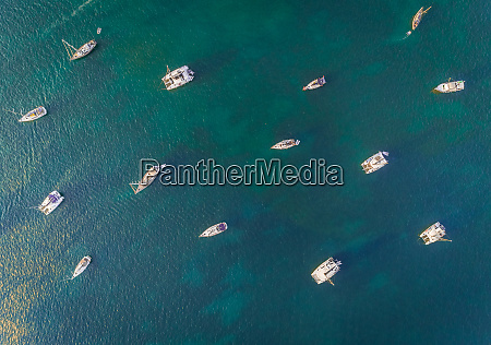 aerial view above of group of