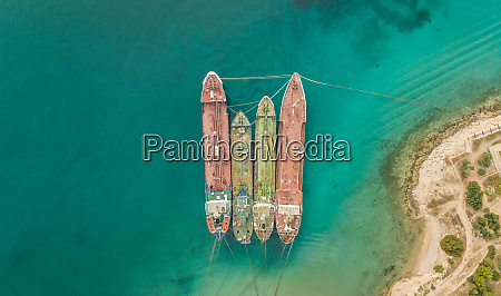 aerial view of old cargo ships