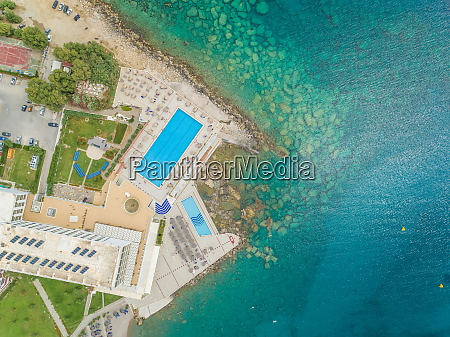 aerial view of swimming pool next