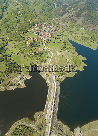aerial view of town karditsa greece