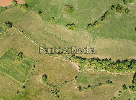 aerial view of country pathway in
