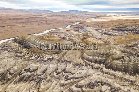 aerial view of rock formations on