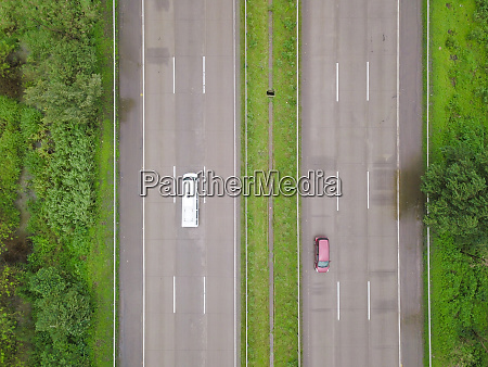 top down aerial view of cars